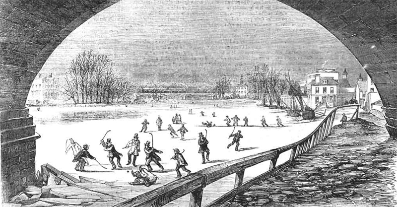 Etching of skaters on the thames